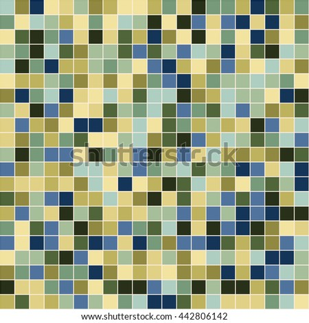 Mosaic tiles texture pattern. Square pixel seamless background
