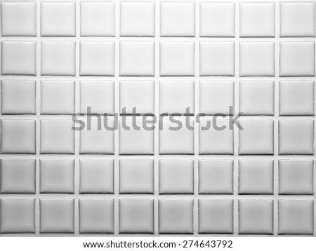Mosaic tiles wall decoration in white and grey shade - stock photo