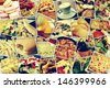 mosaic with pictures of different meals and dishes, shot by myself, simulating a wall of snapshots uploaded to social networking services - stock photo
