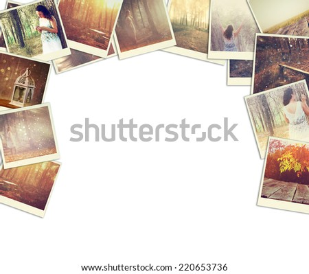 mosaic with pictures of different scenic and landscapes. collage with retro effect - stock photo