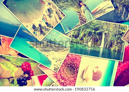 Mosaic with pictures of holiday, snapshots uploaded to social networking services. - stock photo
