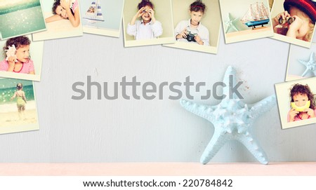 mosaic with pictures of kids in different situations and various objects. collage with retro effect  - stock photo