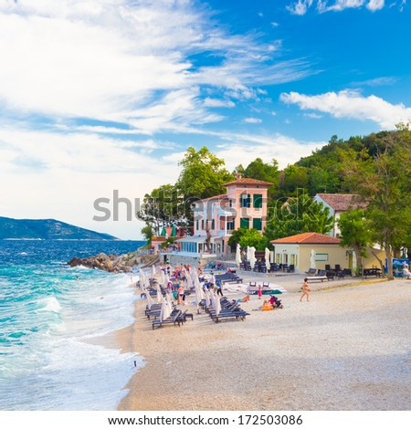 Moscenicka Draga is municipality at Adriatic sea, Croatia. Centre of the municipality is the former fishing village which is nowadays a tourist resort with two beaches, small marina and walking paths. - stock photo