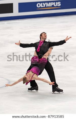 "MOSCOW - APRIL 30: Alexander Shakalov & Siobhan Heekin-Canedy compete in a pairs ice dancing routine during the 2011 World championship figure skating at the Palace of Sports ""Megasport"" on April 30, 2011 in Moscow, Russia. - stock photo"
