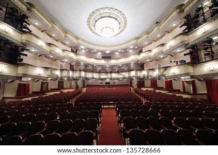 MOSCOW - APRIL 23: Auditorium in Vakhtangov Theatre on April 23, 2012 in Moscow, Russia. Auditorium of Large stage of theater accommodates 1055 people. - stock photo