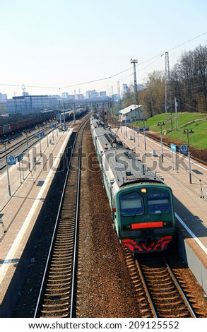 MOSCOW - APRIL 19: Electric train Russian Railways on April 19, 2014 in Moscow