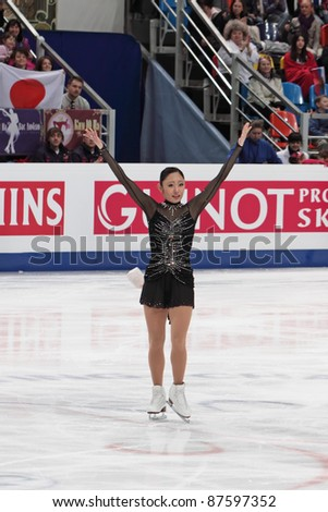 """MOSCOW - APRIL 30: Miki Ando competes in the single ladies free figure skating event at the 2011 World championship on April 30, 2011 at the Palace of sports """"Megasport"""" in Moscow, Russia. - stock photo"""