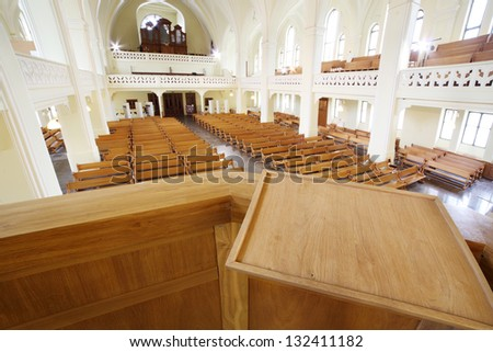 MOSCOW - APRIL 11: Pulpit in Evangelical Lutheran Cathedral of Sts. Peter and Paul on April 11, 2012 in Moscow, Russia. During the period from 2004 to 2008 were carried out extensive restoration work. - stock photo