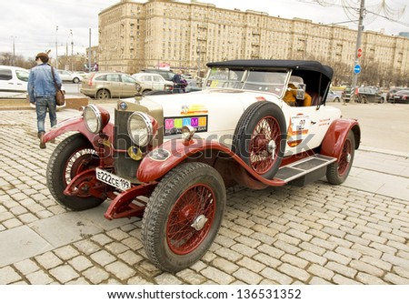 MOSCOW -?? APRIL 21: retro car alfa-romeo on rally of classical cars on Poklonnaya hill,  April 21, 2013, in town Moscow, Russia. - stock photo
