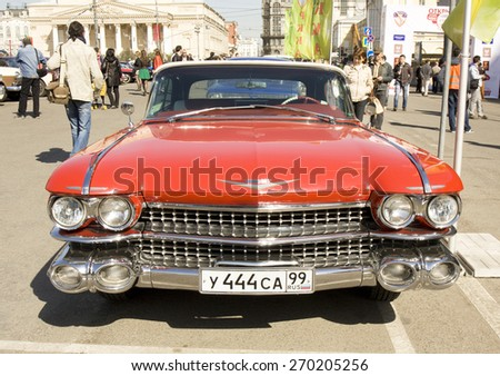 MOSCOW - APRIL 27, 2014: retro car Cadillac Eldorado on rally of classical cars, organized by Russian Club of Classical Autocars on Theatre square.  - stock photo