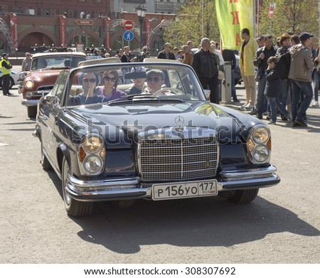 MOSCOW - APRIL 27, 2014: retro car mercedes on rally of classical cars, organized by Russian Club of Classical Autocars on Theatre square.