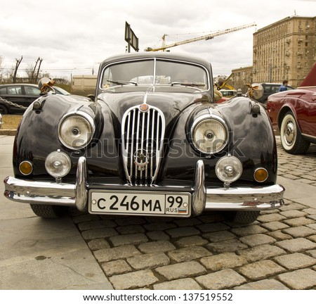 MOSCOW - APRIL 21: retro jaguar on rally of classical cars on Poklonnaya hill,  April 21, 2013, in town Moscow, Russia.