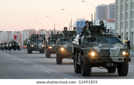 MOSCOW - APRIL 27: Russian army military vehicles cruise through downtown during a rehearsal for the Victory Day military parade at Moscow's Red Square, April 27, 2010 in Moscow, Russia.