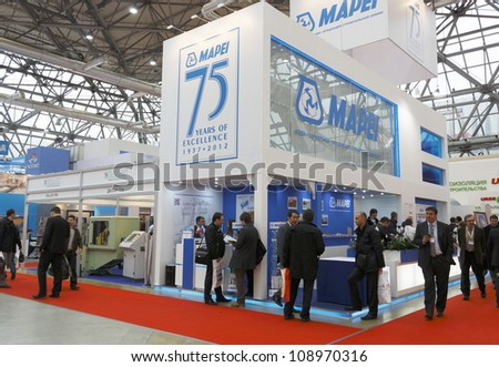 MOSCOW-APRIL 11:Stand Italian companies for the production of MAPEI construction chemicals at the international exhibition Mosbuild 2012  on April 11, 2012 in Moscow