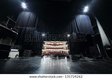 MOSCOW - APRIL 23: View from black wings at auditorium in Vakhtangov Theatre on April 23, 2012 in Moscow, Russia. Auditorium of Large stage of theater accommodates 1055 people. - stock photo