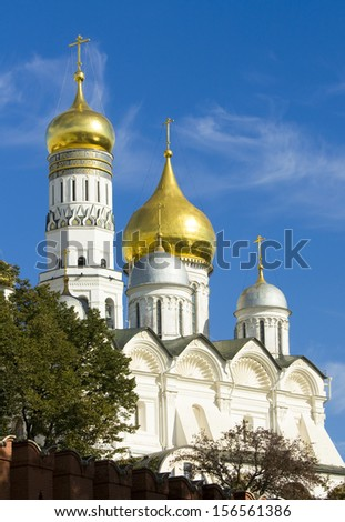 Moscow, Arkhangelskiy cathedral and tower bell of Ivan the Great inside Kremlin fortress.