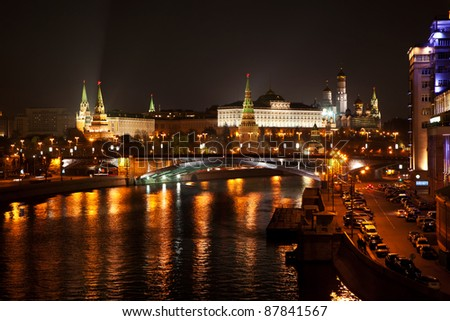 Moscow at Night, the view on the towers of the kremlin