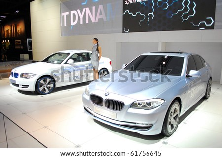 MOSCOW - AUG 26: BMWs at Moscow international motor show 2010 on August 26, 2010 in Moscow, Russia. - stock photo