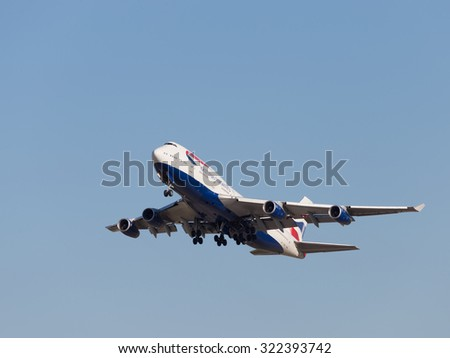 Moscow - August 20, 2015: A passenger plane Boeing 747-436 British Airways flies to Domodedovo airport and on the background of bright blue sky on Aug. 20, 2015, Moscow, Russia