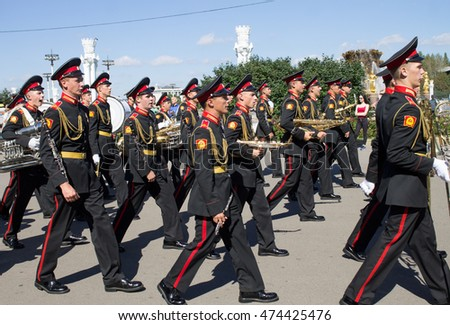 "MOSCOW - August 27, 2016: international festival of military orchestra ""Spasskaya tower"". Orchestra of  Russia."