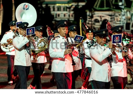 "Moscow - 26 August 2016: international festival of military orchestras ""Spasskaya tower"". The orchestra of the police of Singapore. Russia."