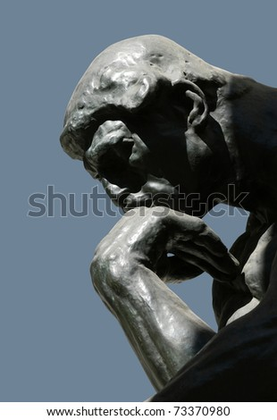 MOSCOW - AUGUST 2: The Thinker, famous statue by Auguste Rodin, at the exhibition of Auguste Rodin in Moscow, Russia, on August 2, 2010 - stock photo