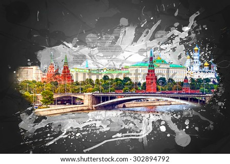 MOSCOW - AUGUST 1: Tourist boat sails along the Moscow River from the Kremlin on august 1, 2013 in Moscow. The Moscow Kremlin is the main attraction of the Russian capital. - stock photo
