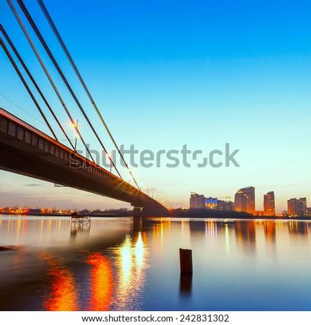 Moscow bridge in Kiev at night - stock photo