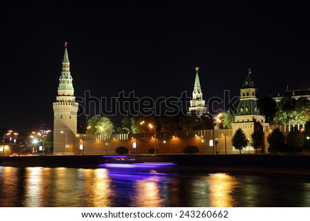 MOSCOW CITY, RUSSIA - AUGUST 03, 2014: The Moscow Kremlin at night - stock photo