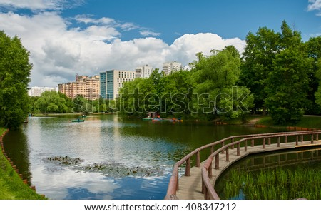 Moscow city Vorontsov park lake - stock photo