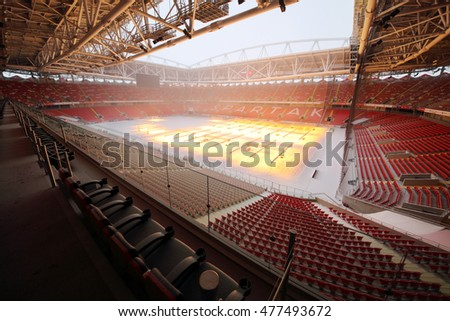 MOSCOW - DEC 25, 2014: Modern Spartak stadium. Stadium capacity - 45 000 people. Stadium was built in 2010-2014