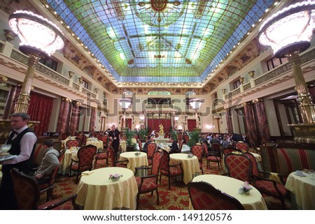 MOSCOW - DEC 4: People eat at an expensive restaurant Metropol with chic interior on December 4, 2012 in Moscow, Russia.