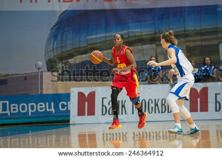 MOSCOW- DECEMBER 4, 2014:  D. Hightower (6) Maccabi Ashdod Israel on the International Europe bascketball league match vs Dynamo Moscow in sport palace Krilatskoe, Moscow, Russia. Dynamo loss 59:67 - stock photo