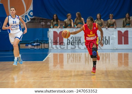MOSCOW - DECEMBER 4, 2014:  D. Hightower (6) Maccabi Ashdod Israel on the International Europe bascketball league match vs Dynamo Moscow in sport palace Krilatskoe, Moscow, Russia. Dynamo loss 59:67 - stock photo