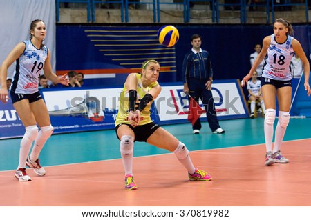 MOSCOW - DECEMBER 2: Elena Ezhova (3) in action on a game Dynamo MSK vs Dynamo KZN on Russian National wemen Volleyball tournament on December 2, in Moscow, Russia, 2015 - stock photo
