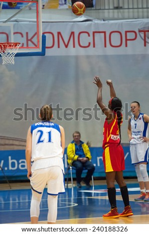 MOSCOW - DECEMBER 4, 2014: L. Jackson (12) on free throw on the International Europe bascketball league match Dynamo Moscow vs Maccabi Ashdod Israel in Moscow, Russia. Dynamo loss 59:67 - stock photo