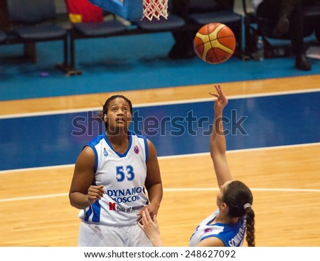 MOSCOW - DECEMBER 4, 2014: S. Phillips (53) under the basket in action on the International Europe bascketball league game Dynamo Moscow vs Maccabi Ashdod in sport palace Krilatskoe, Moscow, Russia - stock photo