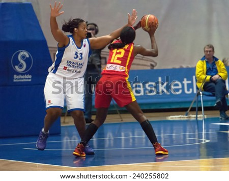 MOSCOW - DECEMBER 4, 2014: S. Phillips (53) vs L. Jackson (12) in the International Europe bascketball league match Dynamo Moscow vs Maccabi Ashdod Israel in sport palace Krilatskoe, Moscow, Russia. D - stock photo