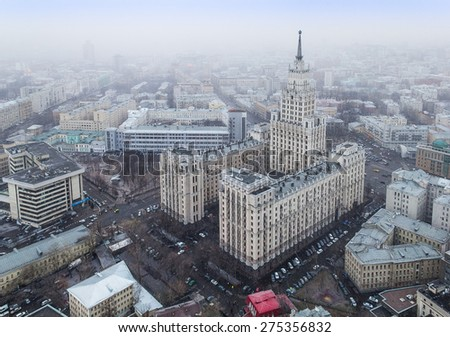 Moscow during the snowfall in March