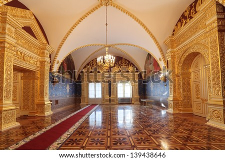 MOSCOW-FEB 22: An interior view of the Grand Kremlin Palace is shown on Feb 22, 2013 in Moscow. Built in 1849, the palace is the official residence of the President of Russia. The Holy canopy