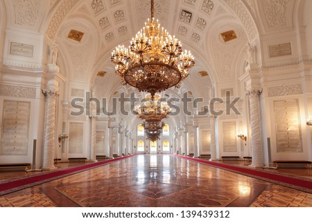 MOSCOW-FEB 22: An interior view of the Grand Kremlin Palace is shown on Feb 22, 2013 in Moscow. Built in 1849, the palace is the official residence of the President of Russia. The Georgievsky hall - stock photo