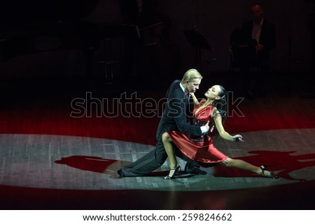 MOSCOW - FEBRUARY 27: Dancers in musical dance show Tango de Buenos Aires in the Chamber Hall of the Moscow House of Music on February 27, 2015 in Moscow, Russia. - stock photo