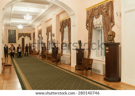MOSCOW - FEBRUARY 27: Lobby decorated with sculptures and paintings at Moscow Conservatory on February 27, 2015 in Moscow. Moscow Conservatory is higher musical education institution in Moscow. - stock photo