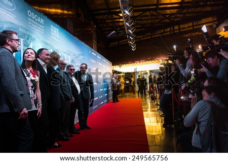 MOSCOW - JANUARY, 28: Film Director A. Zvyagintsev with team. Premiere of the movie Leviathan at Moscow Cinema,  January, 28, 2015 in Moscow, Russia - stock photo