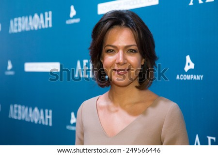 MOSCOW - JANUARY, 28: Ksenia Chelingarova. Premiere of the movie Leviathan at Moscow Cinema,  January, 28, 2015 in Moscow, Russia - stock photo