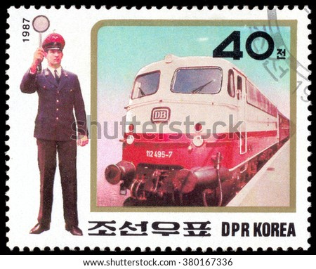 MOSCOW, January 23, 2016: North Korea circa-1987: A postage stamp of DPR KOREA shows Metro and Man Train Conductor, circa 1987 - stock photo