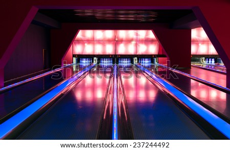MOSCOW - 21 JULY, 2014: A beautiful modern luxury bowling. Moscow - a fast-paced city with modern entertainment centers. - stock photo
