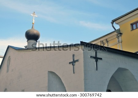 MOSCOW - JULY 25, 2015: Architecture of Marfo-Mariinsky Convent of Mercy (Stavropegic Nunnery) in Moscow, Russia. Popular landmark. Color photo.