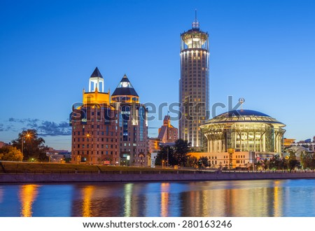 MOSCOW - JULY 18: Business Complex Riverside Towers, Krasnye Holmy Hotel and Moscow International House of Music in Kosmodamianovskaya Embankment of Moskva river on July 18, 2015 in Moscow. - stock photo