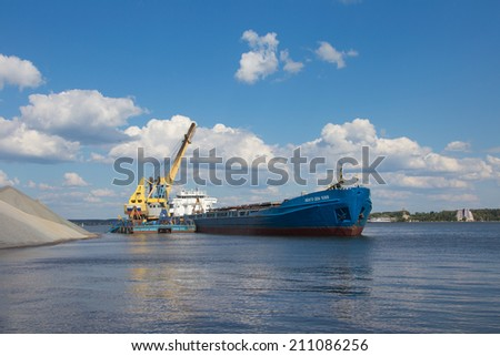 MOSCOW - July 2014: Crane loading rubble onto a barge Volga-Don 5068 in July 2014, Moscow, Russia